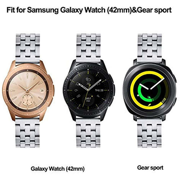 Faixa de fivela de borboleta de aço inoxidável para Samsung Galaxy Assista 42 milímetros de prata