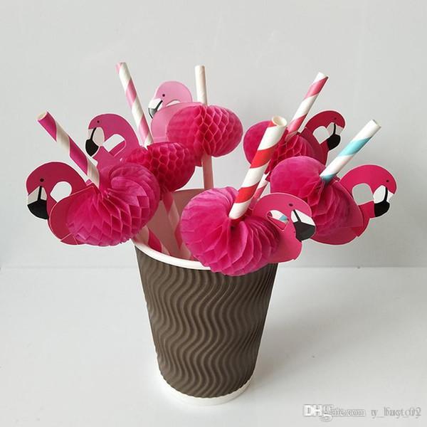 Flamingo Paper Straws Desechable Honeycomb Suckers Cartoon Bird Straw Stripe Paper Sucker para Beber Cocktail Juice Party Wedding Decor
