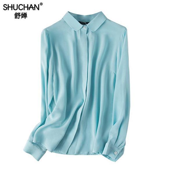 Shuchan Básico Blusa Mulheres Manga Longa 100% Seda Cardigan Sólida Escritório Senhora Mulheres Camisas de Alta Qualidade Céu Azul Branco