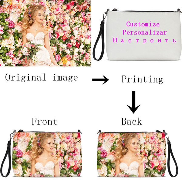 VEEVANV Customized Your Image Name Logo Women Daily Zip Pouch Fashion Soft Leater Crossbody Bags Handbags Clutch Bag Sac A Main