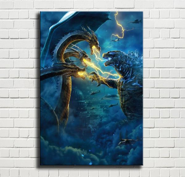 Godzilla Rey de los monstruos, 1 pieza Impresiones de lienzos Arte de la pared Pintura al óleo Decoración para el hogar (sin marco / enmarcado) 24x36.