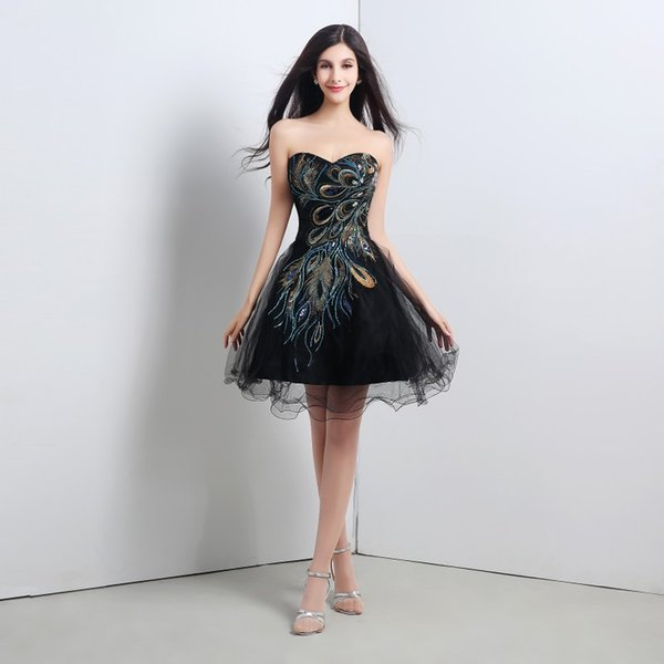 Chic Black Short Evening Dress Embroidery Sweetheart Lace Up Mini Tulle Cocktail Party Dresses With Crystal For Special Occasion Wear
