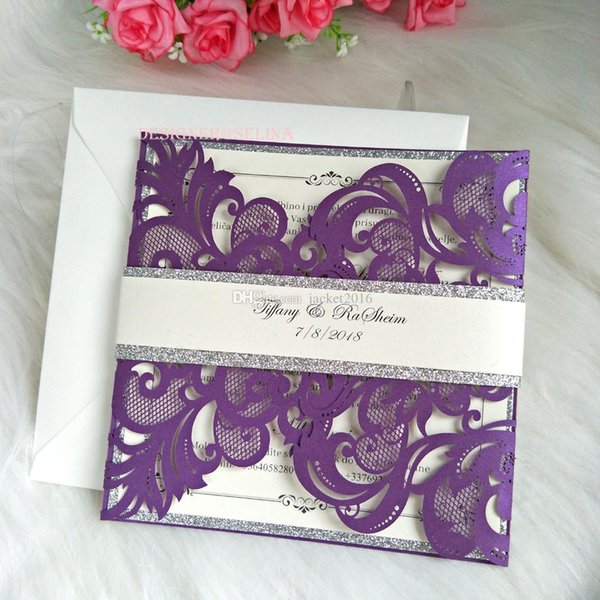 Luxury Purple Laser Cut Wedding Invitation With Silver Glitter Bottom And Belly Band Quinceanera Invitation Cards Diy Invite Design Your Own Wedding