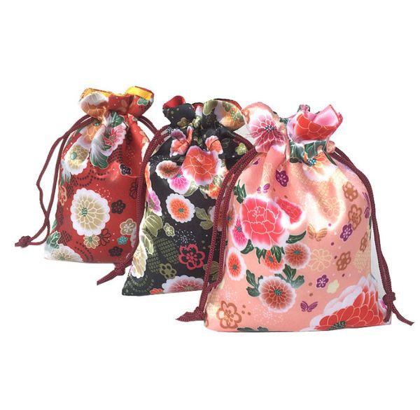 Jewelry Silk Gift Pouch Jewelry Silk Gift Pouch Japanese Flower Drawstring Sack 12x16cm pack of 50 Party Candy Favor Drawstring Bag