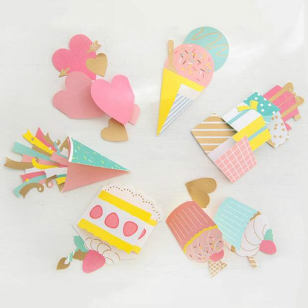 Invitation Cards Gift Tag Cake Ice Cream Shape Cute Design Korean Style Party Decoration 19070701 Birthday Card Free Online Birthday Card Greeting
