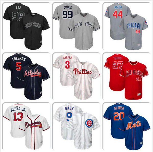 the best attitude 04825 88447 2019 Mens Baseball Jersey Bryce Harper Javier Baez Pete Alonso Cody  Bellinger Mike Trout Ronald Acuna Jr. Authentic Home Jerseys Aaron Nola  WHITE From ...