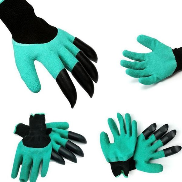 Rubber Gardening glove Garden Gloves for Digging Planting with Plastic Claw Housekeeping Cleaning Tools 1 Pair