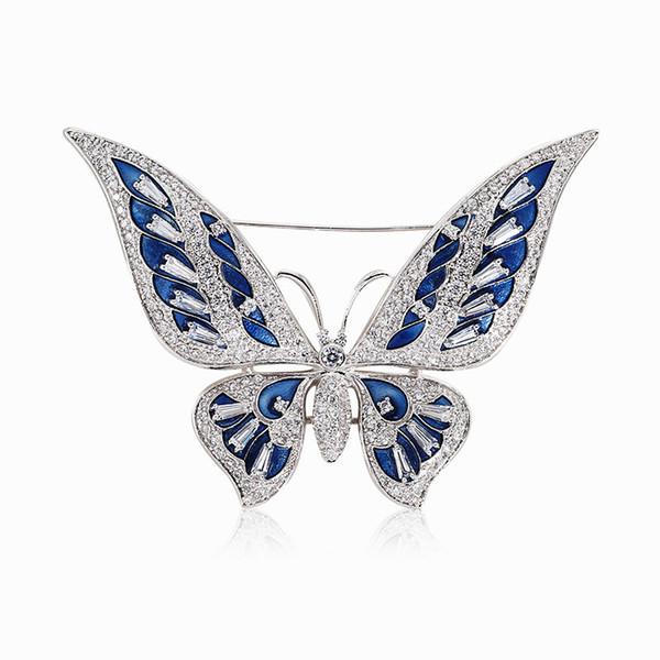 atacado Bule Broches do esmalte borboleta para mulheres Cubic Zirconia Luxo Broche Pin Homens de terno acessórios Broches Jóias Moda 2019