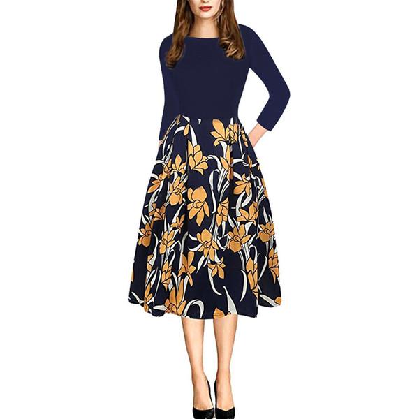 Vestido de primavera de las mujeres vintage vestido estampado de flores vestido casual elegante de alta calidad de cuello redondo de moda de Europa y América vestido de la impresión grande de la pluma S-2XL