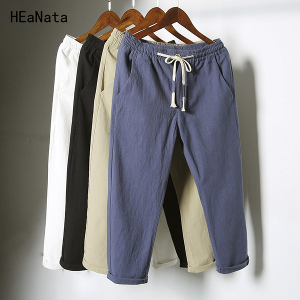 64334abbea Pantalones casuales de estilo masculino de China Pantalones de algodón de lino  transpirables naturales Lino blanco