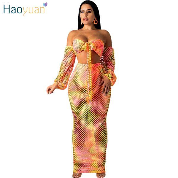 HAOYUAN Tie Dye Fishnet Sheer Sexy Two Piece Set Women Plus Size 2pcs Matching Sets Crop Top and Maxi Skirt Summer Beach Outfits
