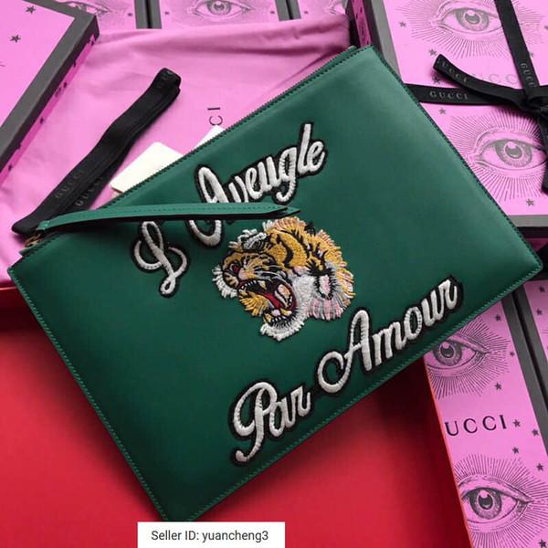 yuancheng3 Couro verde tigre de couro bordado bolsa 431416 Mulheres Carteiras Longas Cadeias Carteira Bolsa Embreagens Evening Key Mini Cinto