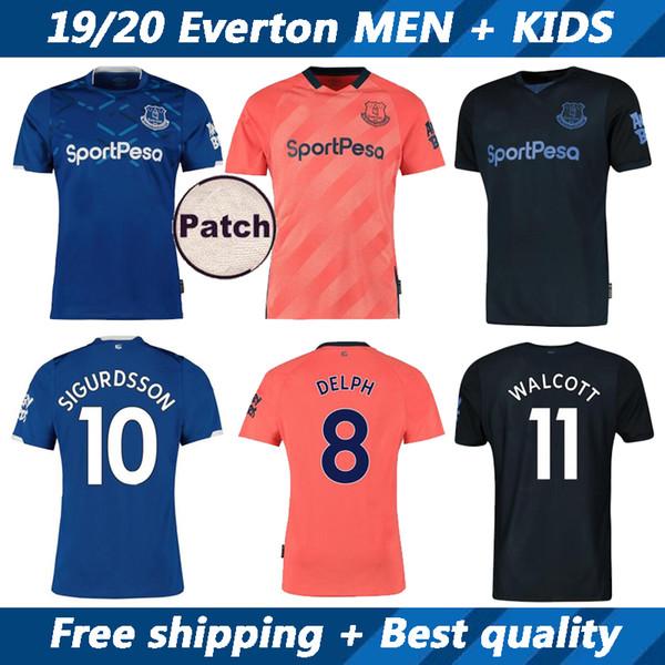 19 20 maillots de football d'Everton et kit enfants 2019 2020 SIGURDSSON DELPH WALCOTT KEANE maison loin troisième uniformes manches courtes chemise de football