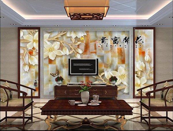 Personnalisé taille 3d photo papier peint salon murale floraison riche orchidée jade sculpture 3d image canapé TV toile de fond papier peint non-tissé autocollant