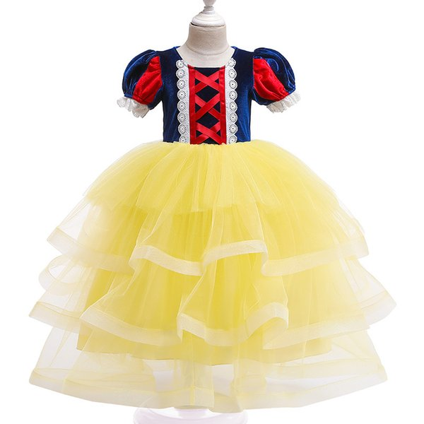 best selling Little Girls Cosplay Costumes Short Puff Sleeve Baby Princess Dresses Ankle Length 2 Color Girl 4 Layered Tulle Dress 19062501