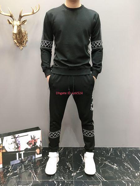 sportswear Men Suit fashion design Two-piece for Mens Long sleeve trousers autumn clothes 2019 Asian size M-XXXXL Plaid embroidery