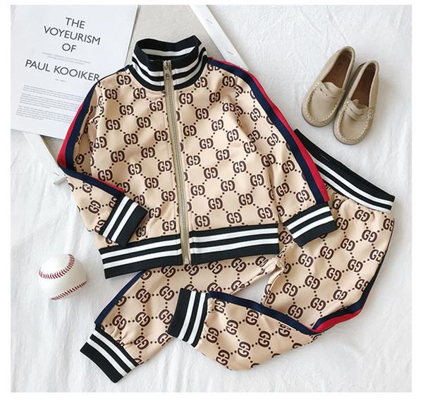 Kid de igner clothe et new luxury print track uit fa hion letter jacket jogger ca ual port tyle weat hirt boy girl