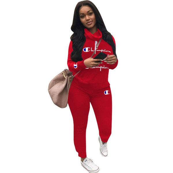 Champion Letter Designer Tracksuits 2 Piece Women Long Sleeve Outfits Heaps Collar Hoodies with Track Pants Leggings Sports Suit A7301