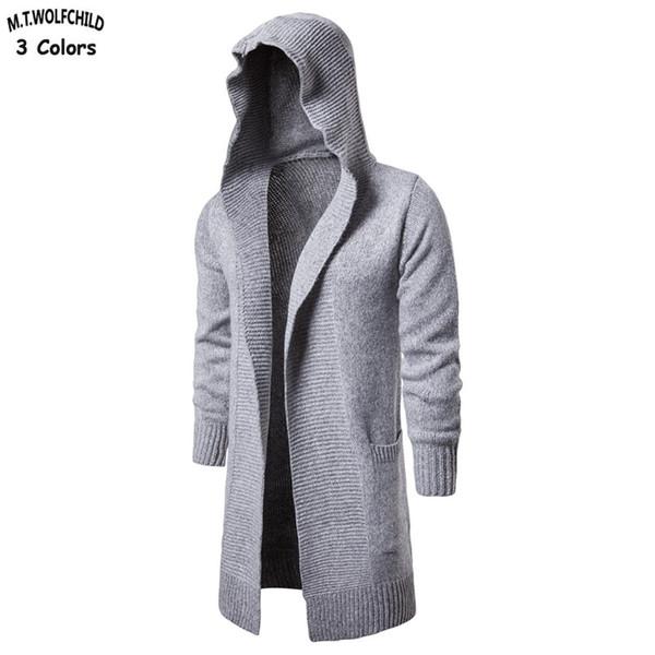 2018 neue Mens lange stil mit kapuze strickjacke strickjacke casual mens einfarbig gestrickte mäntel mode herren lose kleidung # 556217