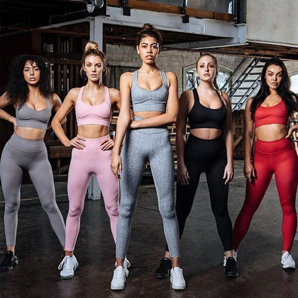 2019 Women Tracksuit 2 Piece Set for Fitness Workout Sportswear Female Crop Top and Pants Set Sports Suit Matching 5 Color