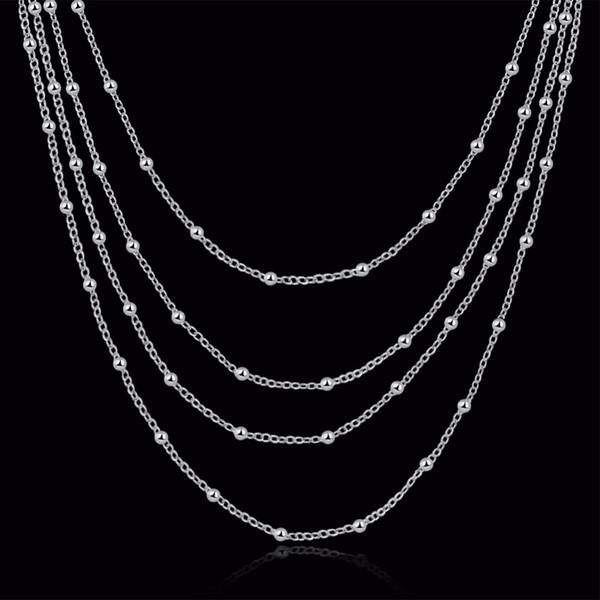 MEEKCAT Accessoire Multilayers Femmes Perles Conception Longue Chaîne 925 Sterling Argent Collier De Mode Pour La Fête De Mariage