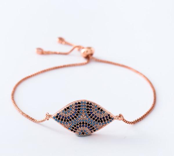 or Chaîne micro pave cz corde zircon cubique ajusté bracelet macramé bracelets oeil tj44 charmes femmes