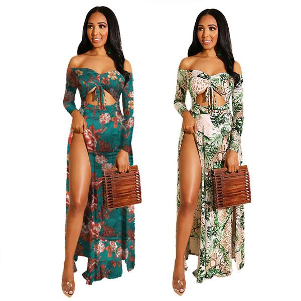 Femmes D'été Robes Casual 2019 Marque Flora Imprimé Split Creux Out Robes Dames D'été Sexy De Vacances Styel Robes De Longueur De Plancher
