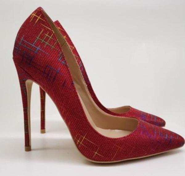 Novo estilo Lantejoulas Vermelhas das Mulheres de fundo Vermelho sapatos de salto alto 8 cm 12 cm 10 cm tamanho grande 45 Cúspide salto Fino vestido de Casamento boca Rasa sapatos Único