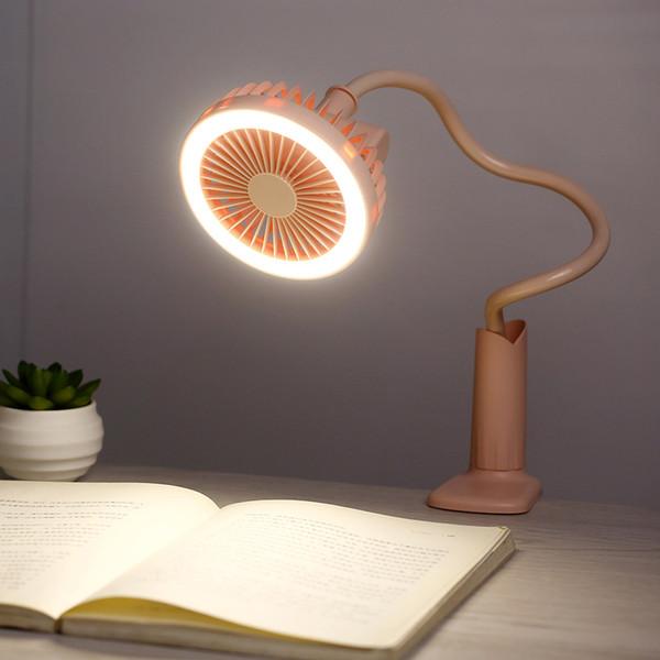 top popular Portable USB Fan flexible with LED light 2 Speed Adjustable Cooler Mini Fan Handy Small Desk Desktop USB Cooling Fan for home office gadgets 2021