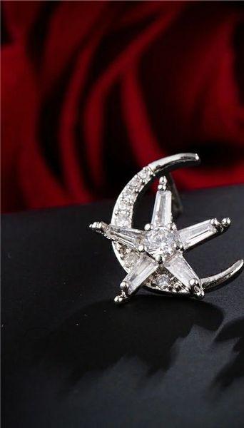 Americal and Eurpean Korean edition micro-zircon super-shining star moon ear nail 925 silver needle ear nail female personality earring earr