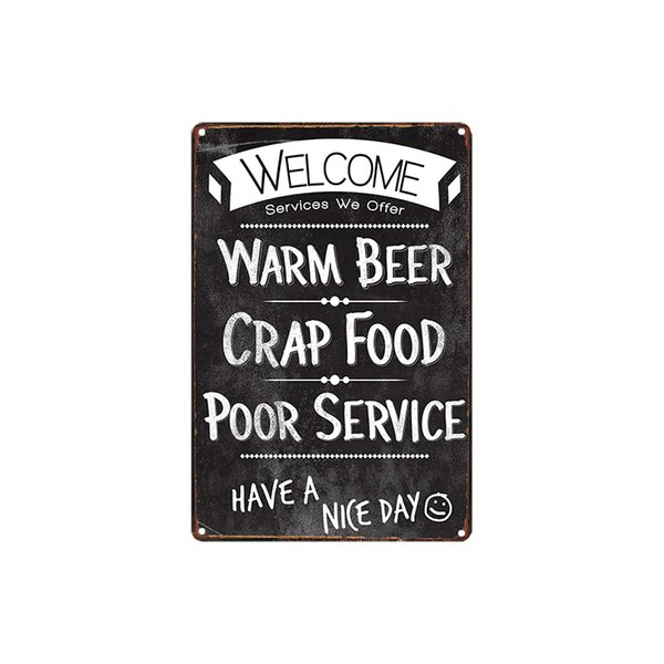 classic vintage WELCOME HAVE A NICE DAY chocolate Diva man cave rules cheese burger tin sign Coffee Shop Bar decoration Bar Metal Paintings