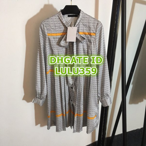 Women's Letter Print Shirt Dresses Medium Long Temperament Streamer Pleated Shirt Skirt Silk Long Sleeve Dress S-M-L 19