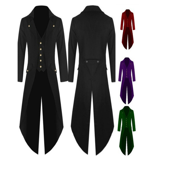 Trench-Coat New Fashion Steampunk Vintage Tailcoat Jacket Redingote Gothique Homme à boutonnage léger et long