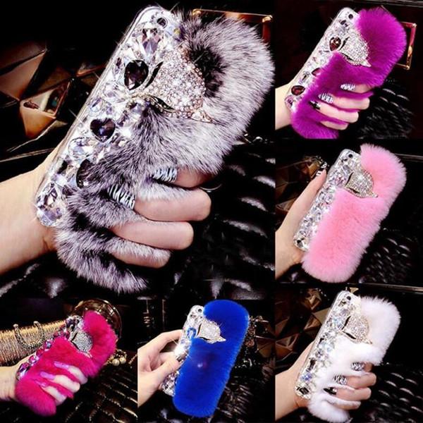 Luxury Rabbit Hair Fur Fox Head Bling Diamond Rhinestone TPU Case for iphone 6s 6plus 7 8plus x XS XR XS Max Samsung S8 S9 Note 9