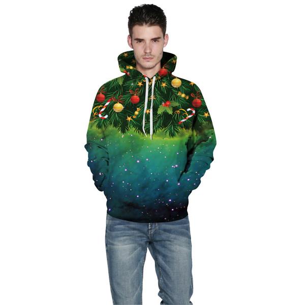 Noel Cosplay Dijital Baskı Çiftin Kapüşonlular Sonbahar ve Kış Uzun Kollu Sokak Beyzbol Giyim Tişörtü