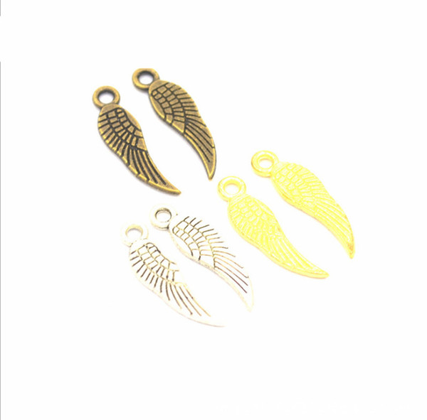 2019 Retro Silver Plated Angel Wings Charms Pendants for Bracelet Jewelry decorate Making DIY Handmade 19*5mm