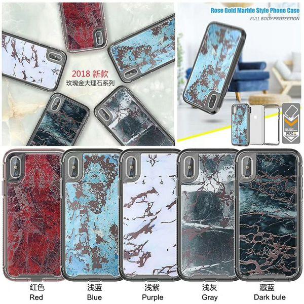 Rose Or Marbre Style Téléphone Cas pour iphone 6 6s 7 8 Plus X Xs Max XR Defender Armure Couverture Antichoc