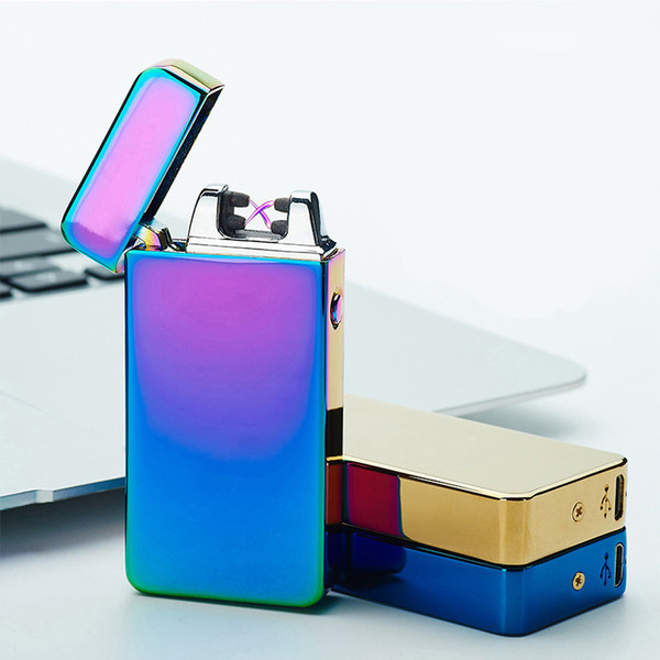 Classic Dual Arc Electronic Lighter 10 Colors Windproof Ultra-thin Metal Pulse USB Rechargeable Electric Arc Double Fire Lighter 047 E