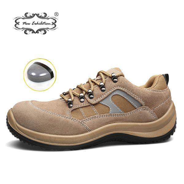Hommes Steel Toe Sécurité Chaussures De Travail 2019 Respirant Slip On Mens Mode Chaussures Légères Anti-Crevaison Bottes Décontractées