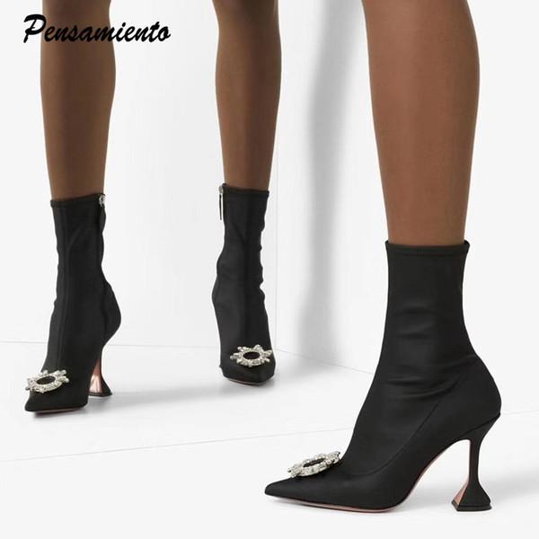 2019 stivali Stretch Lycra caviglia donne Piramide confortevole triangolo con tacco Lady Ufficio scarpe eleganti tacchi alti stivali Sock 34-42