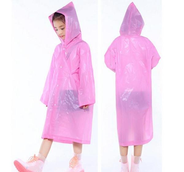 Kids Hooded Transparent Jacket Raincoats Rain Coat Poncho Raincoat Cover Long Girl Boy Rainwear 5 Colors 200pcs