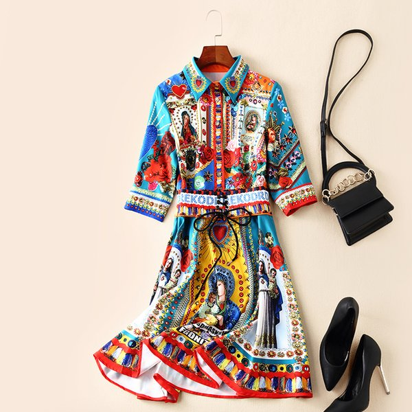 European and American women's 2019 spring clothing new Five - point sleeve lapel Vintage figure printing dress