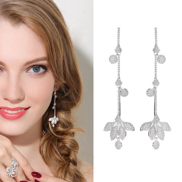 2019 европейский американский мода кисточкой длинные серьги темперамент тонкий серьги S925 серебряная игла полный алмазов газа цветок листьев серьги