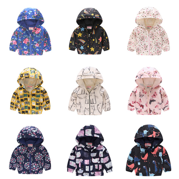 Children Summer Thin Printed Jacket Spring Long Sleeved Cartoon Thin Hooded 2-6Y Boy Girl Cute Zipper Shirt Windbreaker FLE417