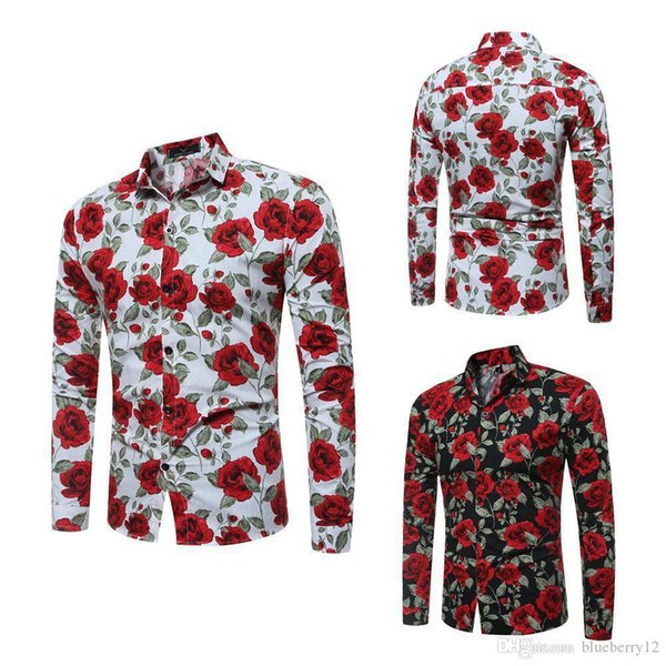 Nice Pop Mens Long Sleeve Shirts Floral Printed Large Size Slim Fit Shirts Rose Pattern Casual Single Breasted Shirt For Spring And Autumn