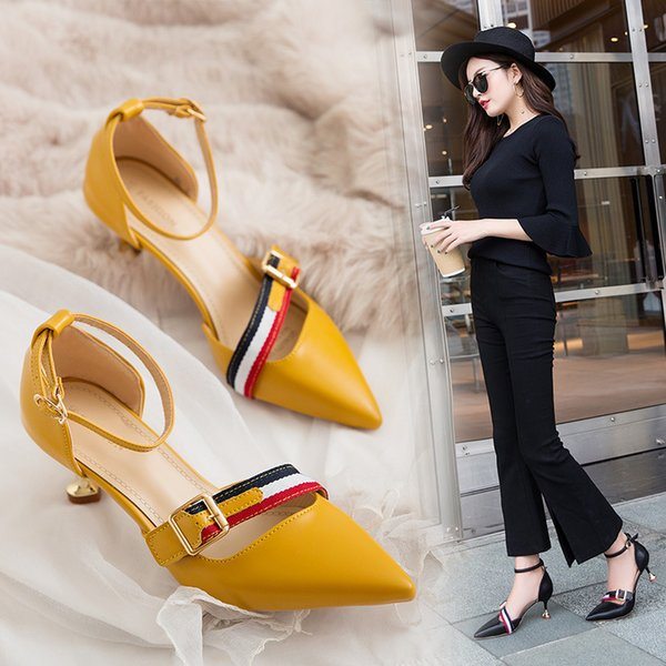 Pop2019 Joker Woman Sandals Baotou High One Word Bring Buckle Sharp Wine Glass Cat With Shoes Tide