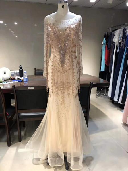 2019 echte Bilder Champagner Tüll Meerjungfrau Abendkleid bodenlangen Langarm Plus Size formale Prom Party Kleid