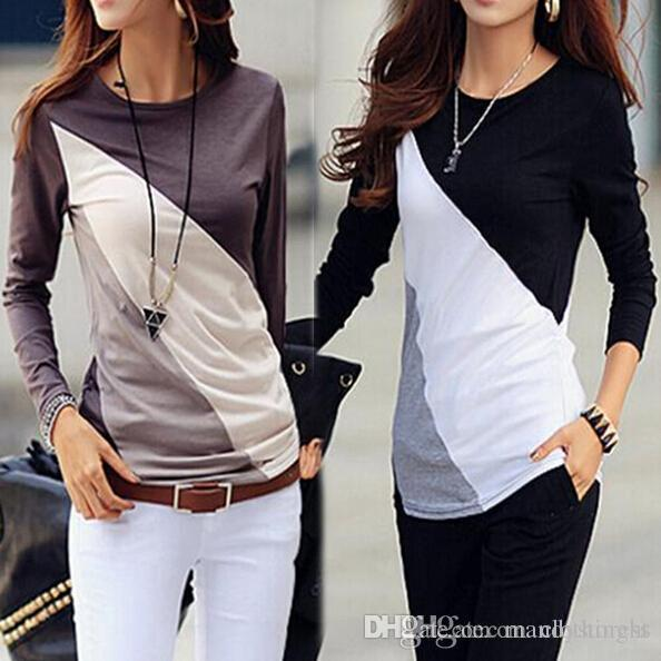 2018 nova chegada mulheres moda algodão manga comprida t-shirt cor misturada camiseta frete grátis