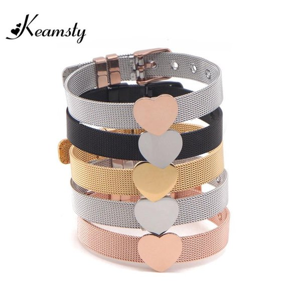 Bracciali Charms Keamsty Bracciali Charms cuore Slide Bracciali Steel Mesh Keeper per donna Silver Rose Gold Black Plating