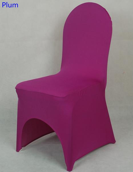 Couverture de chaise universelle lycra couleur prune pour la décoration de mariage couverture de chaise en spandex à la vente chaise de banquet arc avant ouvert